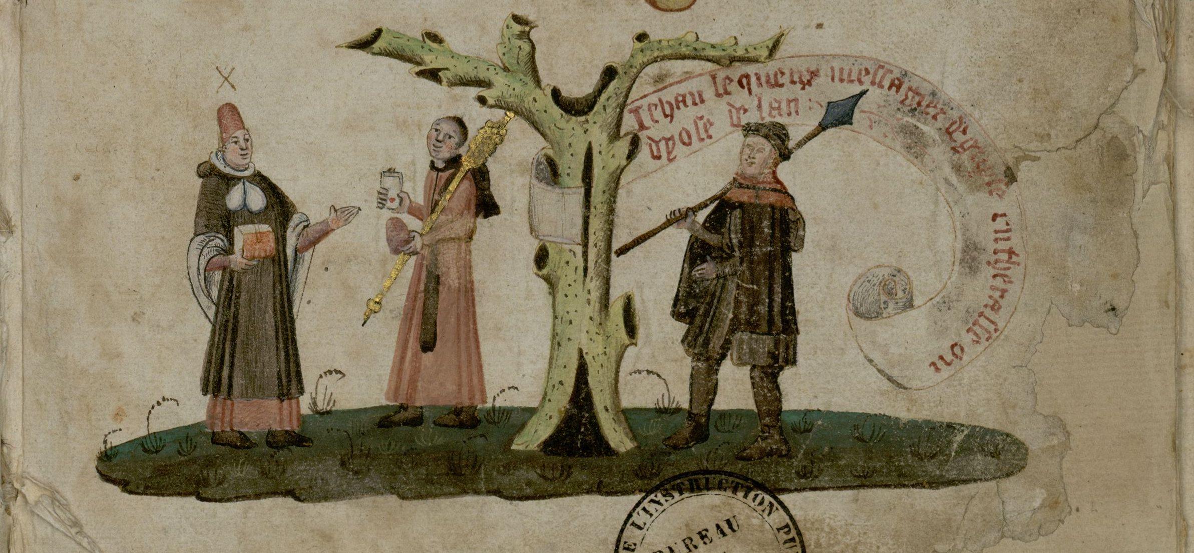 """Miniature from the ""Liber procuratorum"" of the Picard nation from 1476 (Arch. Sorb., Reg. 9, f. 1r). Cliché Bibliothèque de la Sorbonne."
