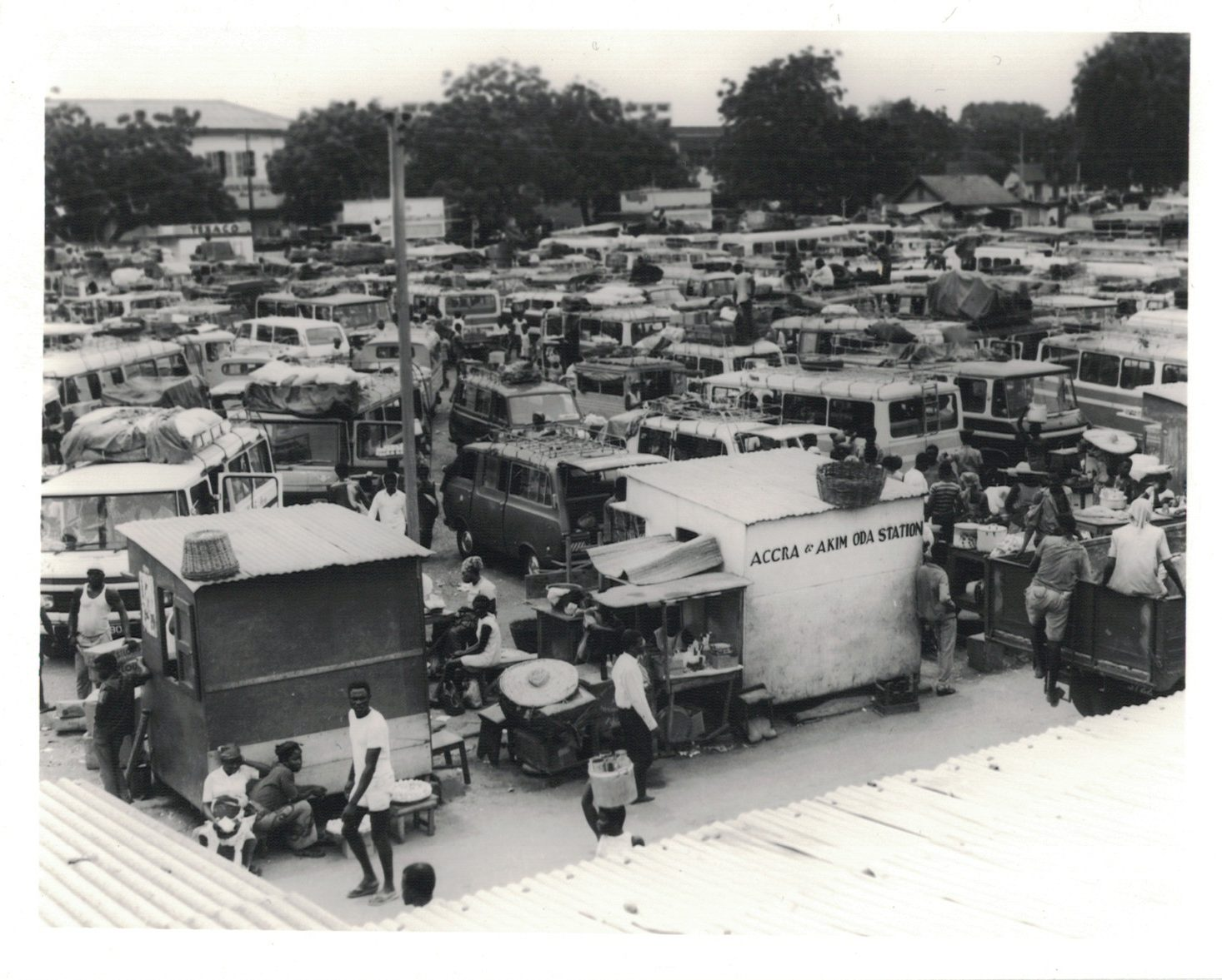 """A view of Accra Lorry Station,"" E. S. Boateng, 29/5/1973. Source: PS/1365/10, Photographic Section, Information Services Department, Ministry of Information, Accra, Ghana."