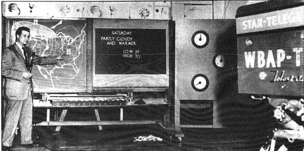 Harold Taft presents a television weather report, 1954. Image printed in the Fort Worth Star-Telegram, Sept 29, 1991, Section E, page 8. Scanned and posted online at http://hometownbyhandlebar.com/?p=18416.