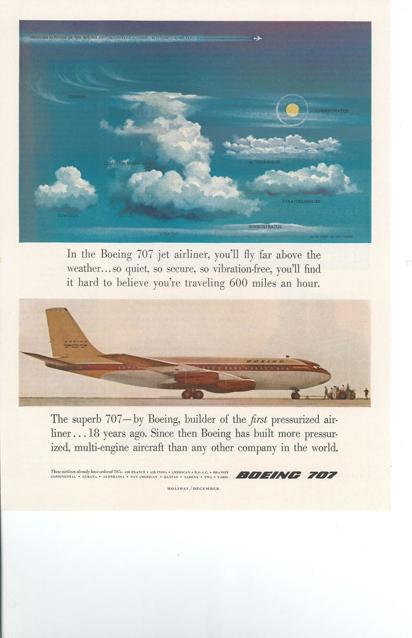 Boeing claimed its new jetliner flew 'above the weather.' Advertisement for a Boeing 707. Scanned from a copy in author's personal collection.
