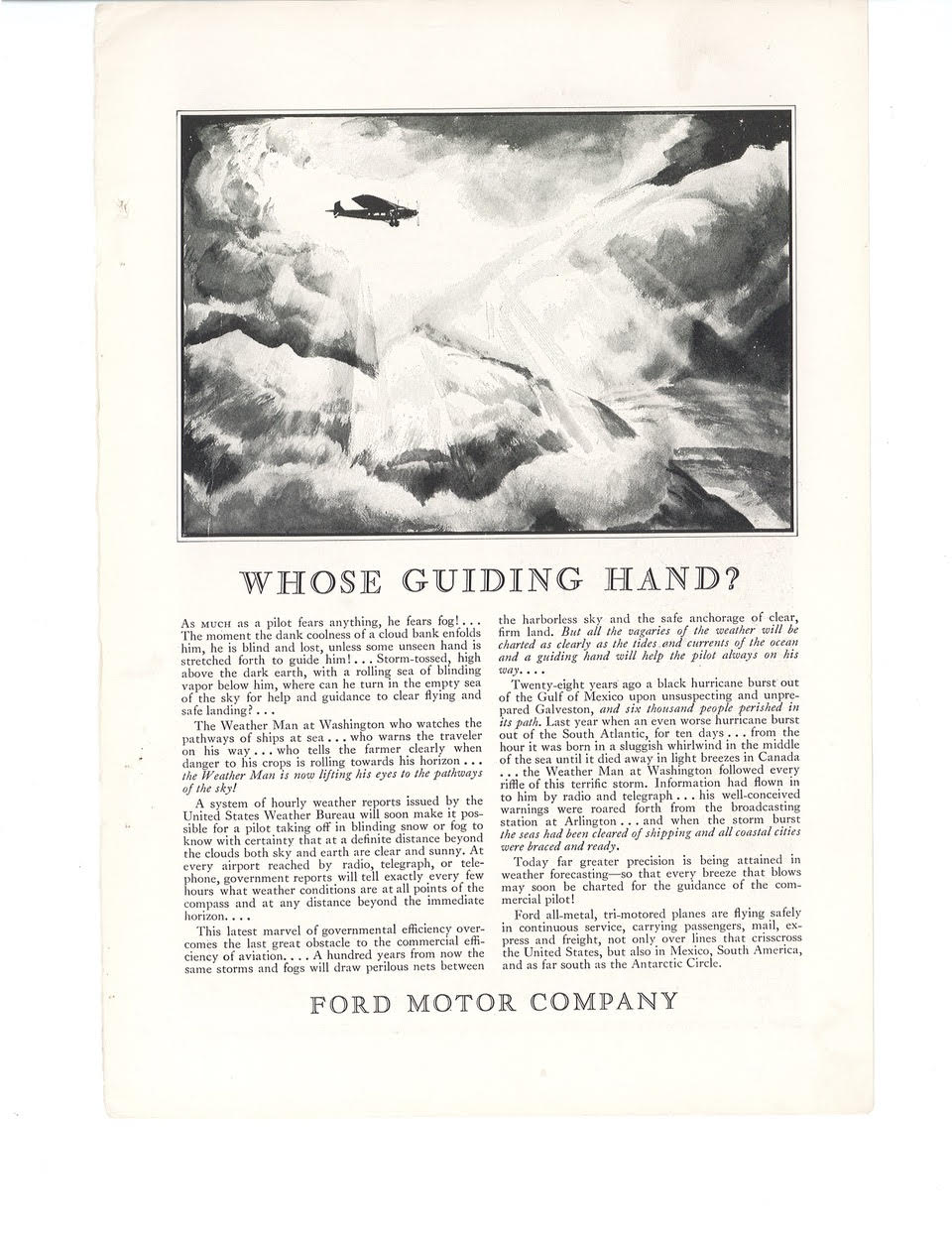 'Whose Guiding Hand?' Advertisement for Ford Motor Company. National Geographic, December 1929.