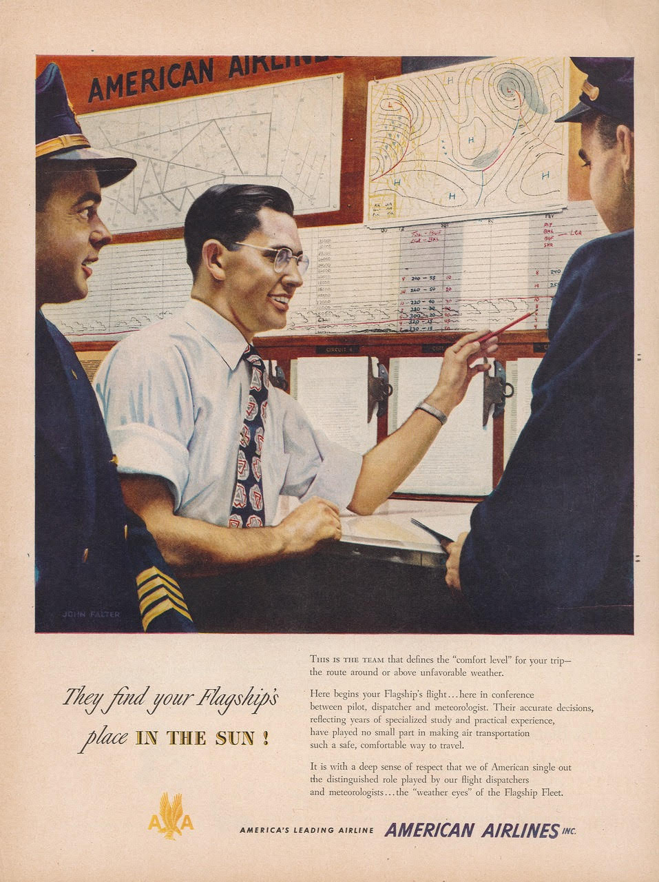 'They Find Your Flagship's Place in the Sun!' Advertisement for American Airlines, probably published in Life Magazine, 1950. From a copy in author's personal collection.