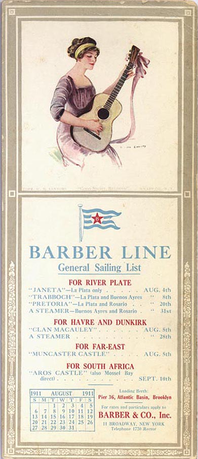 Barber Steamship Line General Sailing List, August 1911
