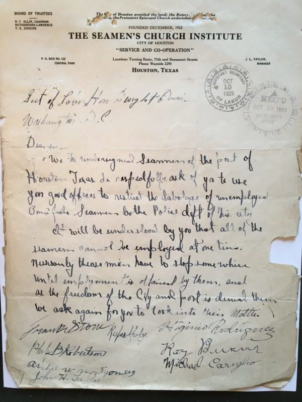 Letter from foreign sailors in Houston to the Secretary of Labor, October 15, 1929.