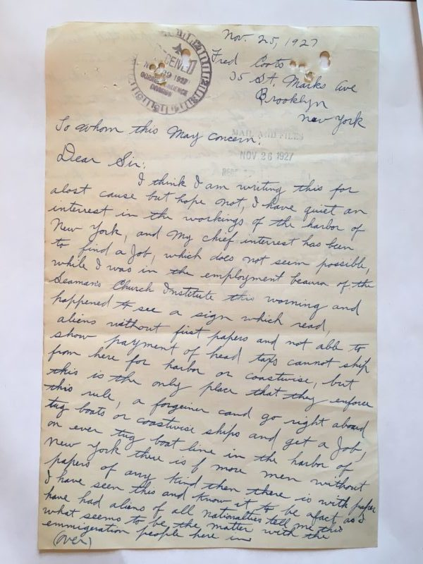 Letter from a Brooklyn sailor to the Commissioner General of Immigration, November 25, 1927.