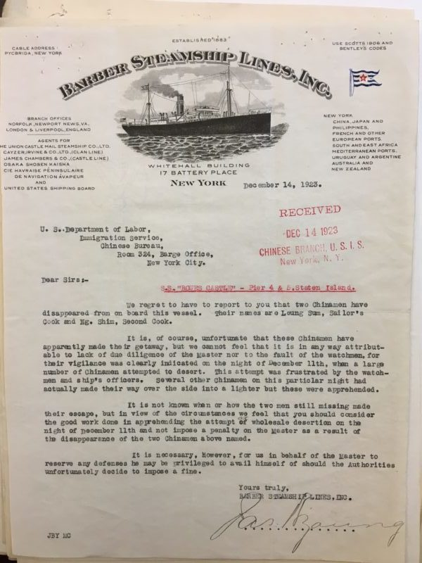 Letter from Barber Steamship Lines to the Bureau of Immigration, Ellis Island, December 23, 1923.