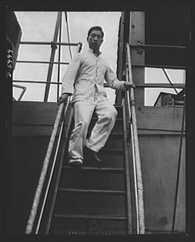 """Edward Gruber, """"Chinese messboy leaving a British ship for his first visit ashore to see his countrymen in America,"""" September 1942."""