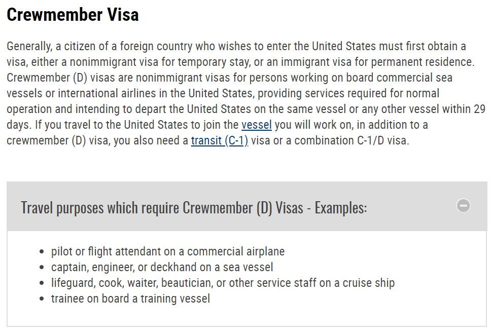 "Screenshot, taken by the author, of the State Department's webpage with instructions on how to apply for a ""Crewmember Visa."