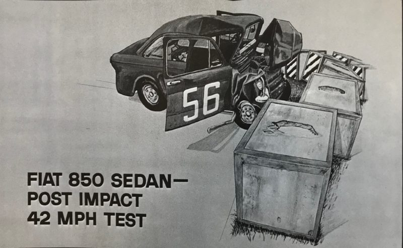 Artist's Rendering of a Fiat Car Crashed on the Company's Grounds