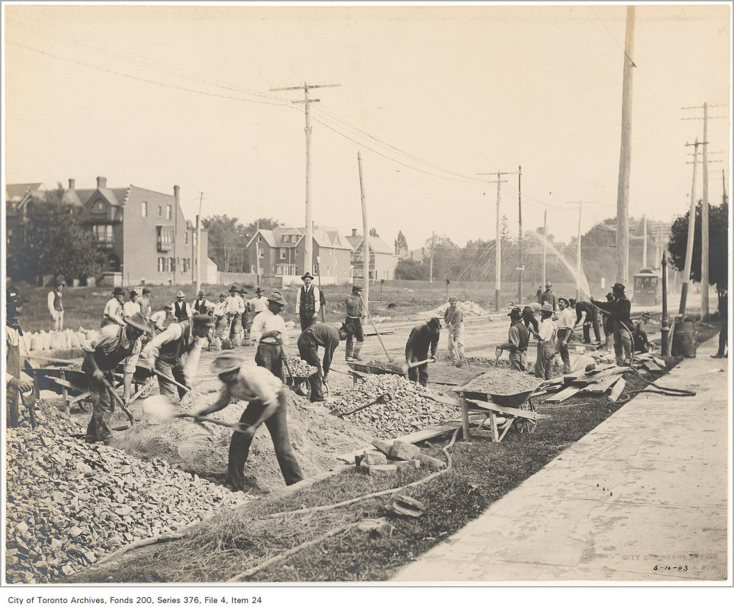 An ethnically diverse crew of road workers on Bloor Street in Toronto, 1903. Source: City of Toronto Archives, Fonds 200, Series 376, File 4, Item 24.