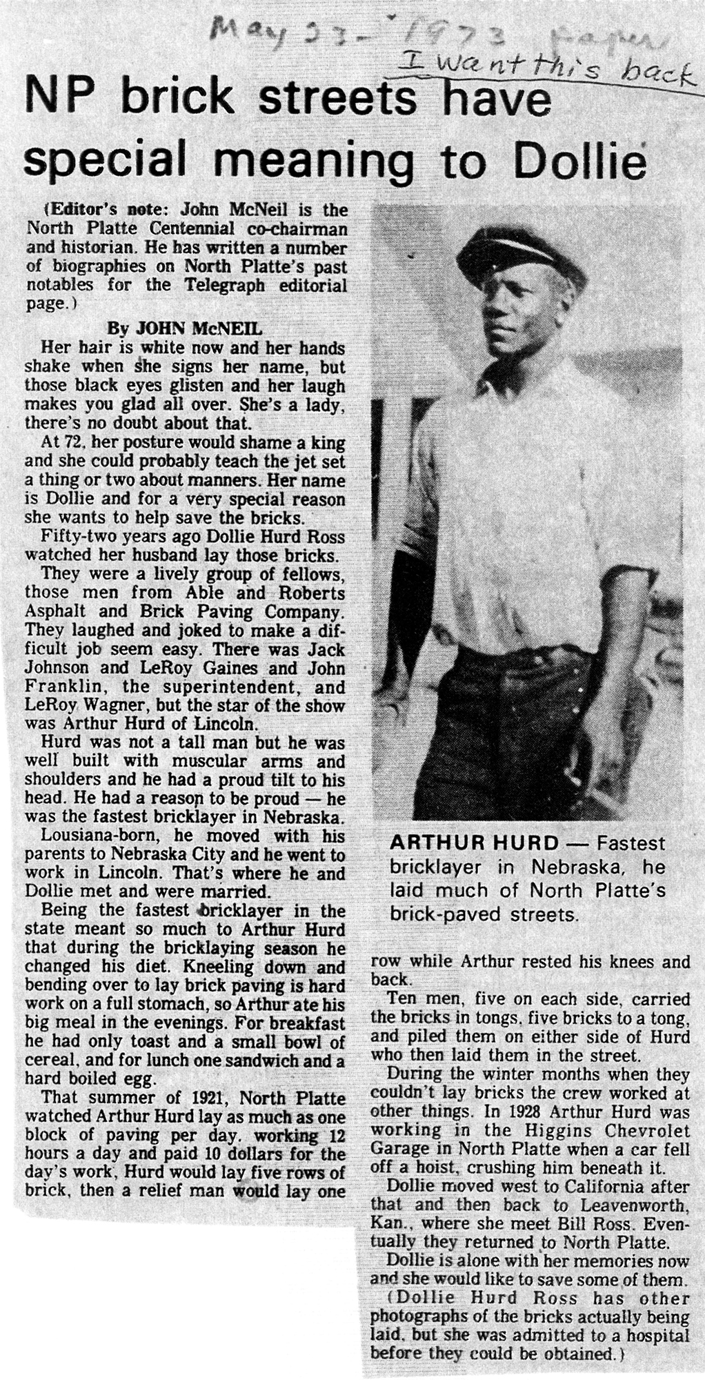 Arthur Hurd, 'the fastest bricklayer in Nebraska.' Source: John McNeil, 'NP Streets have special meaning to Dollie,' North Platte Telegraph, May 23, 1973. Courtesy of The North Platte Bulletin.