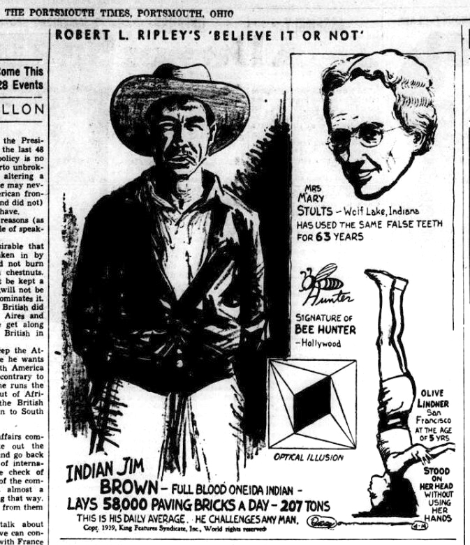 Ripley's Believe or Not cartoon depicting 'Indian Jim Brown,' appearing in The Portsmouth Times, April 14, 1939. Courtesy of the Portsmouth Daily Times.