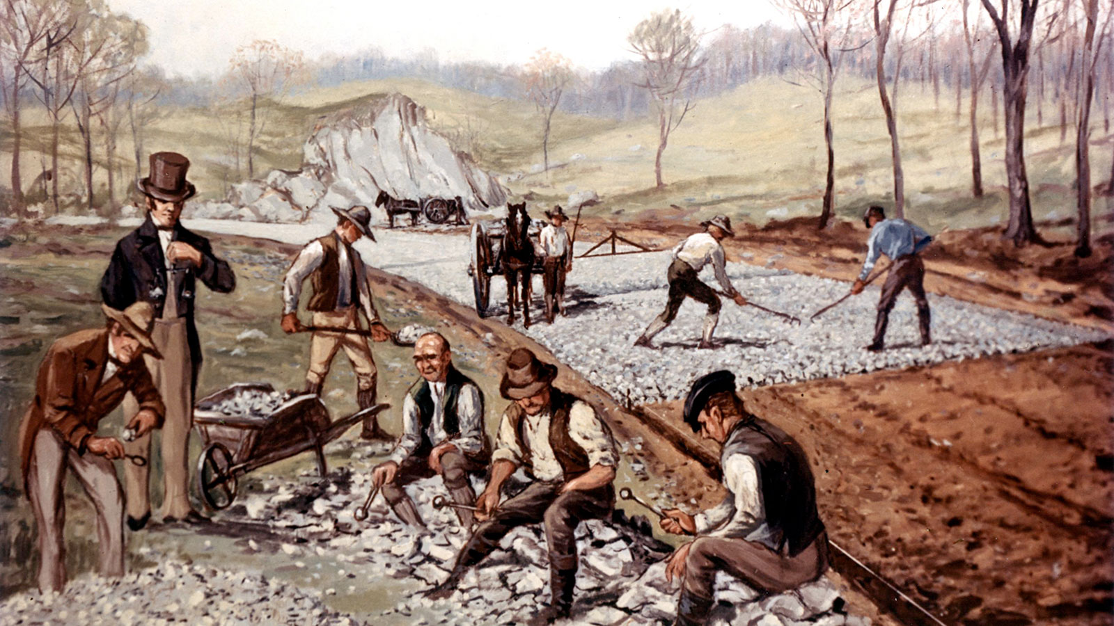 Carl Rakeman, 'First American Macadam Road,' 1823, depicting workers constructing the Boonsborough Turnpike Road between Hagerstown and Boonsboro, Maryland. Courtesy of the Federal Highway Administration.