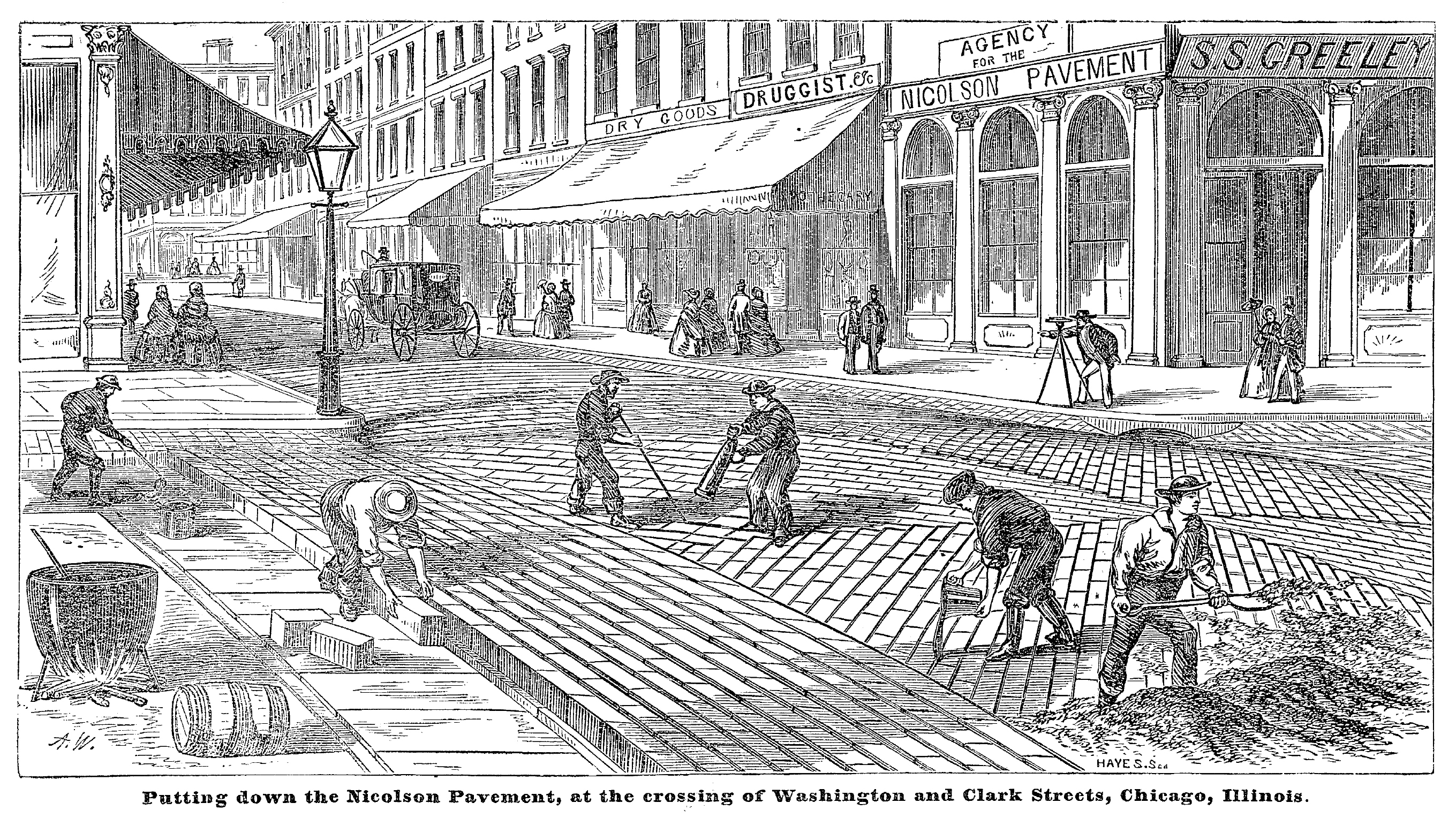 "Workers laying Nicolson wood blocks in Chicago. Source: ""The Nicolson Pavement, Invented by Samuel Nicolson,"" 1859."