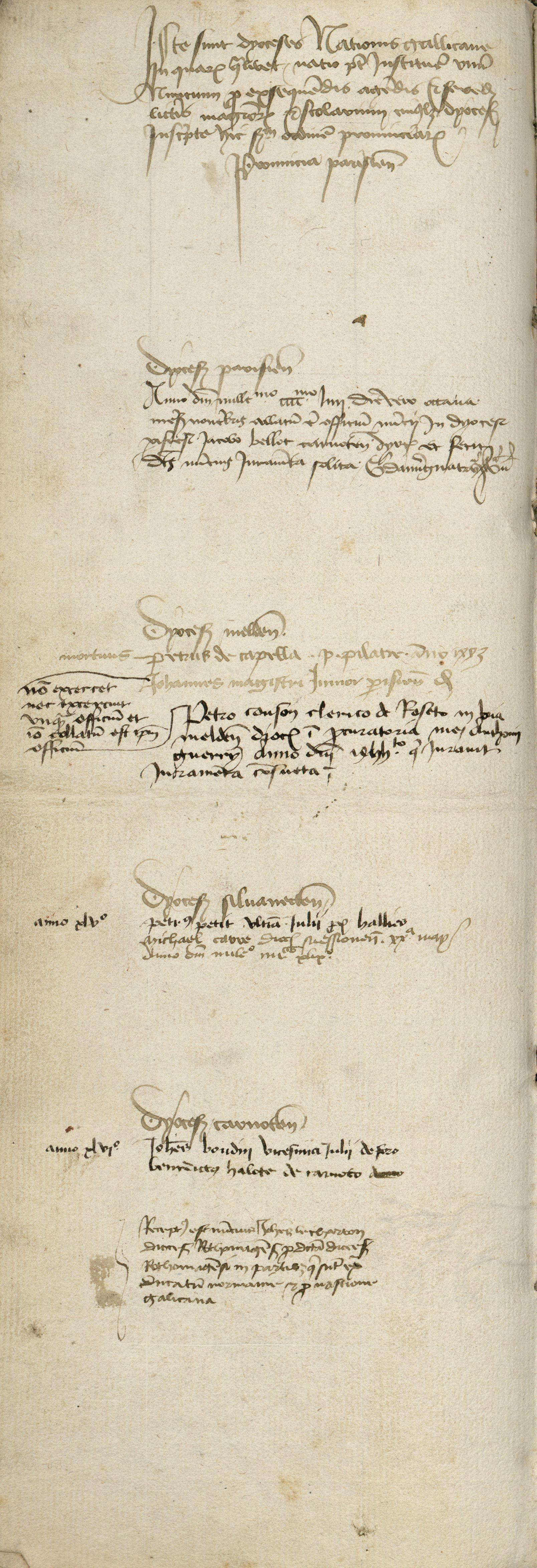 "The first folio of the ""second list"" of messengers of the French nation (1445-1456) (Arch. Sorb., Reg. 1, f. 224v-225r). Cliché Bibliothèque de la Sorbonne."