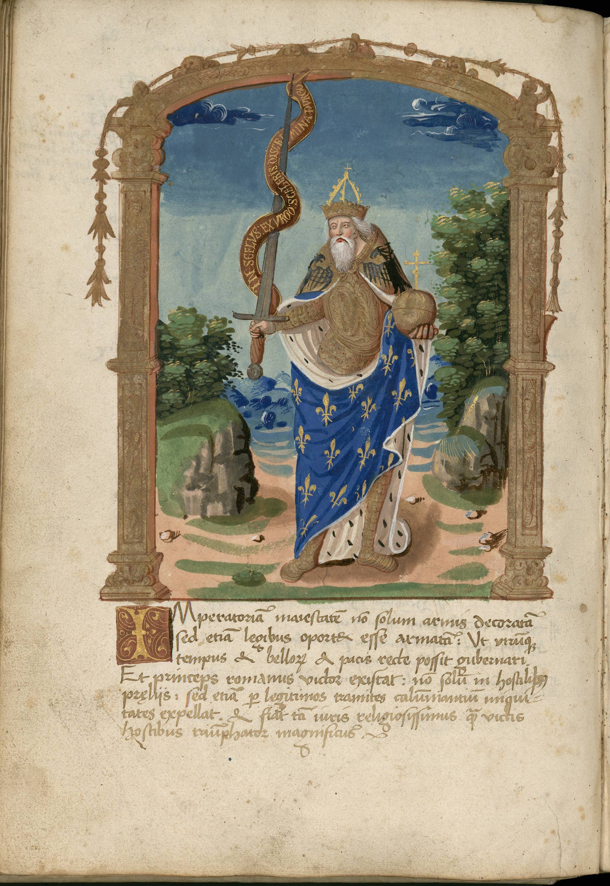"""Charlemagne in the ""Liber Receptorum"", the accounts book of the German nation 1506-1507 (Arch. Sorb., Reg., Nr. 91, f. 84v). Cliché Bibliothèque de la Sorbonne."