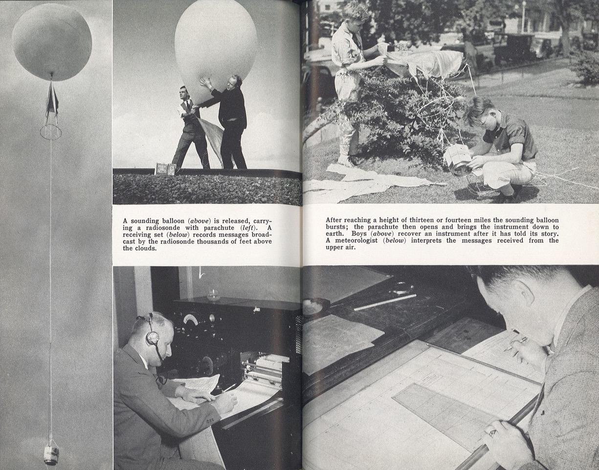 Operating a radiosonde for measuring the upper air. Source: Joseph Gaer, Fair and Warmer (Harcourt Brace, 1939), 101-102.
