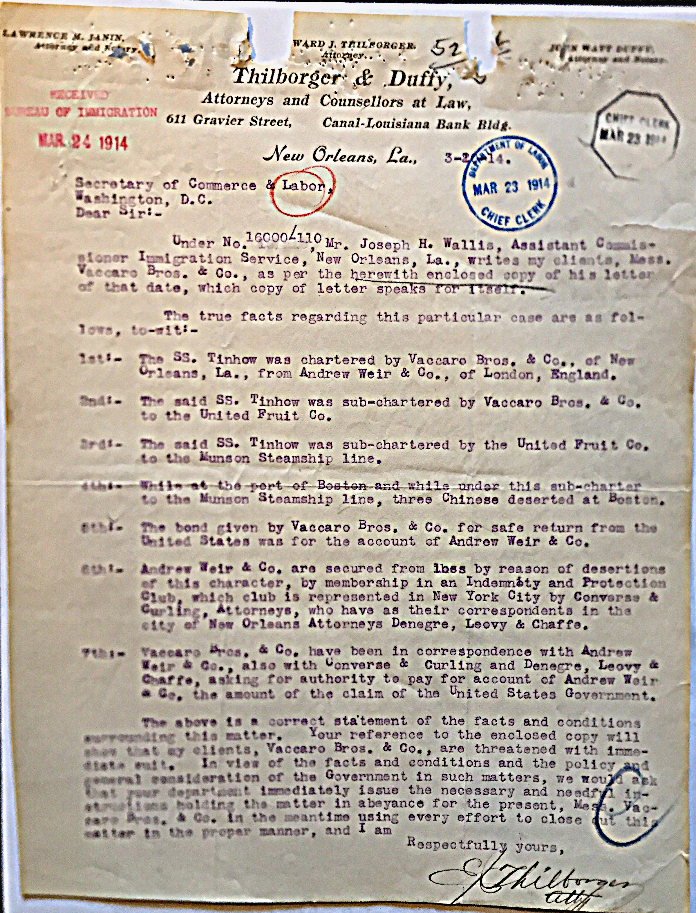 Letter from Ward Thilborger to Secretary of Commerce and Labor, March 24, 1914.