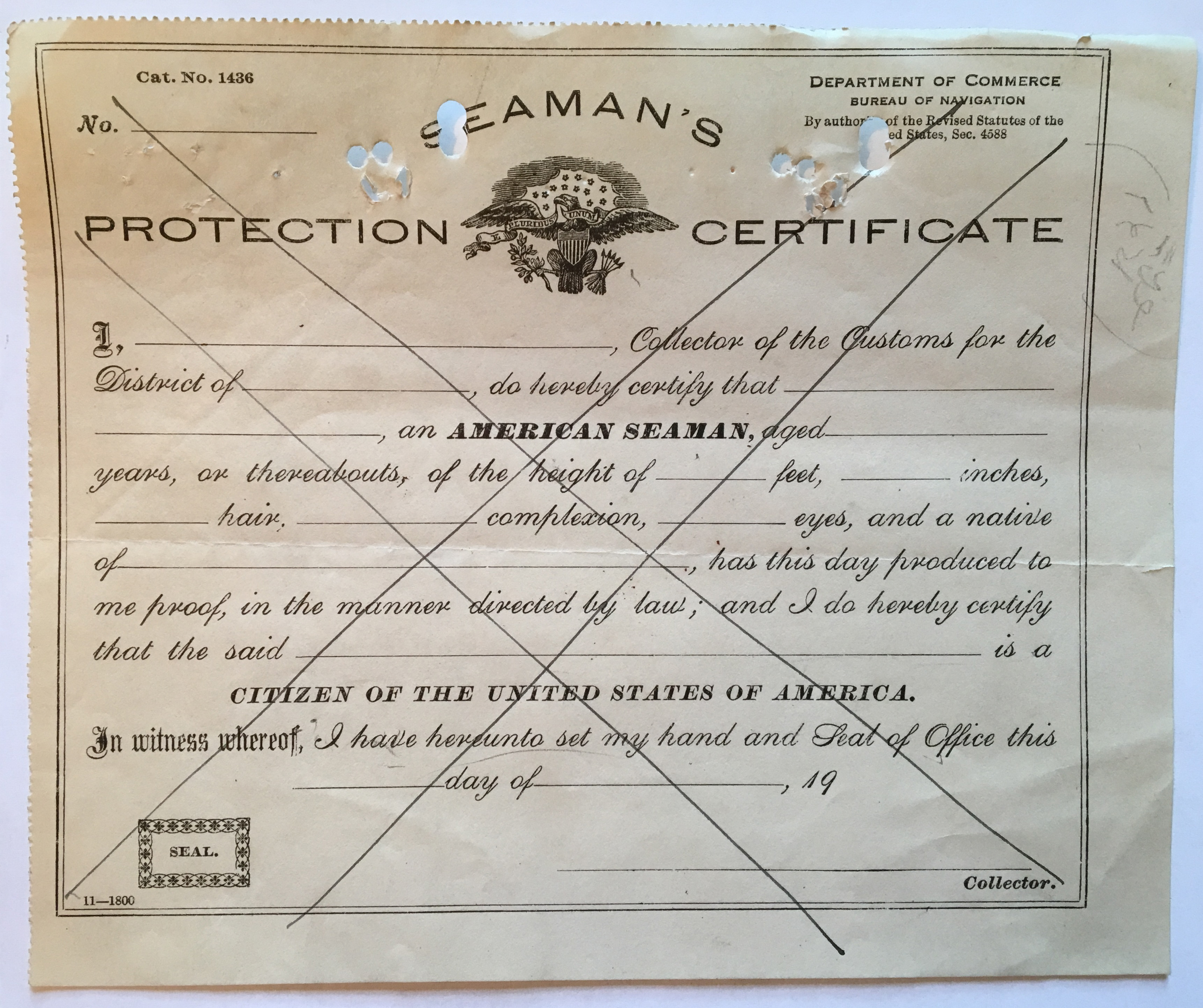 Seaman's Protection Certificate, c. 1928.